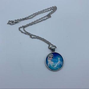 New Elsa Frozen blue cabochon pendant necklace